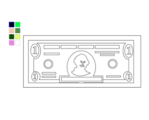 Online Coloring Page Dollar Bill